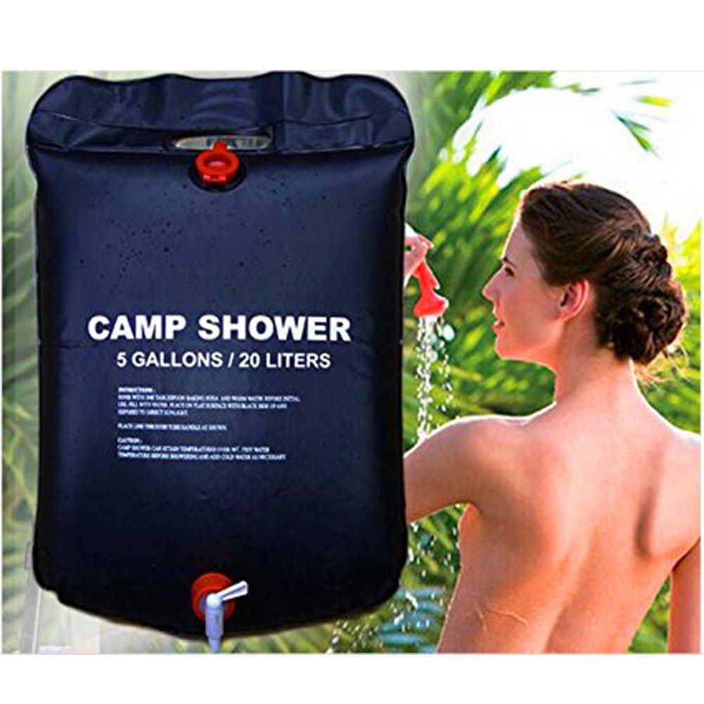 /5/galloni//20l solare riscaldamento Premium campeggio doccia borsa dell acqua calda con temperatura 50//°C rimovibile flessibile on//off doccia escursioni arrampicata Summer Uomo solare campeggio doccia bag/ Nero