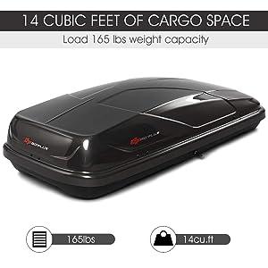 Goplus Cargo Box Waterproof Rooftop Cargo Carrier Heavy Duty Roof Storage Box, 14 Cubic Feet