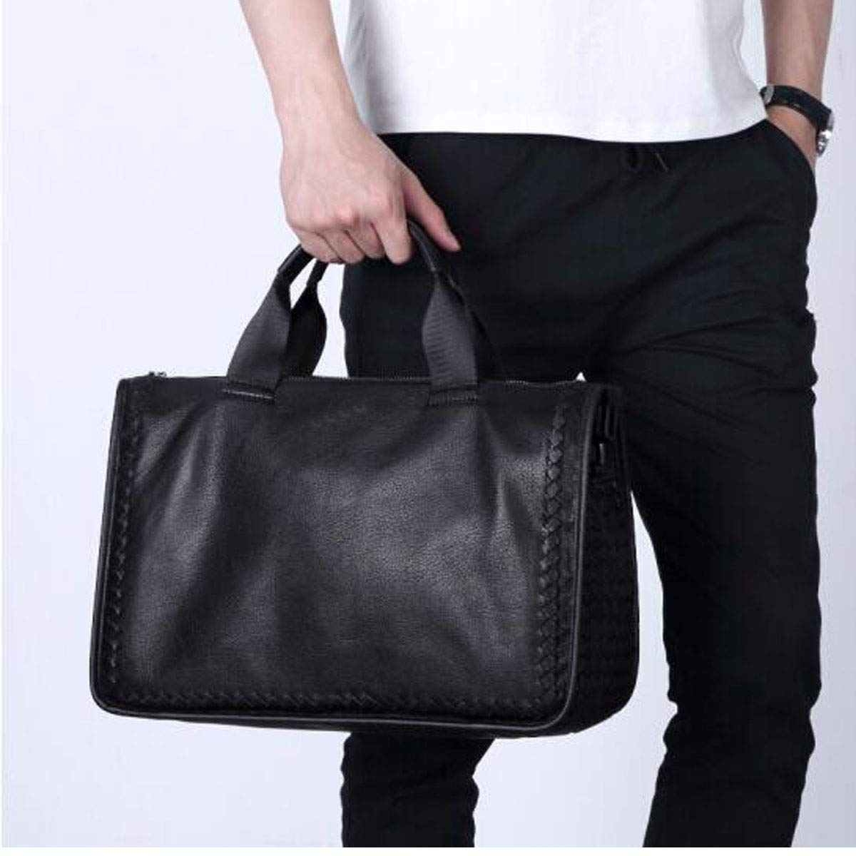 Cross-Section Leather Mens Shoulder Bag Business Computer Bag Sheepskin Mens Handbag Black Size: 381328.5cm 8haowenju Briefcase Color : Black