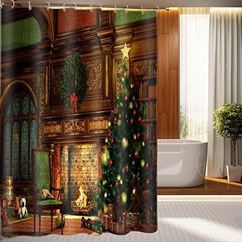 Beddinginn Fabric Decor 3d Shower Curtain Warm and Sweet Holiday Festival Bathroom Shower decor 72