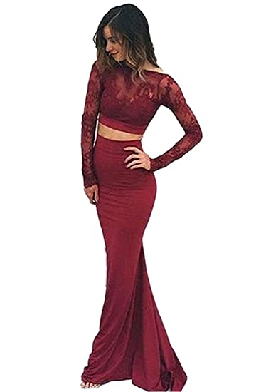 Inmagicdress Burgundy Two Pieces Prom Dress Long Sleeves Lace