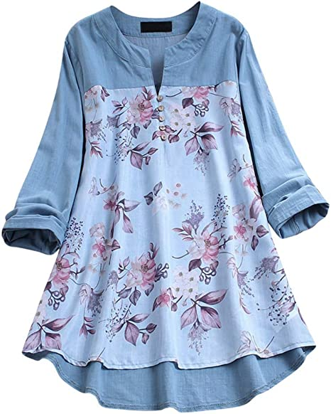 Womens Casual Plus Size Floral Printed O-Neck Irregular Splice Hem T-Shirt Blouse Tops S-XXXXXL