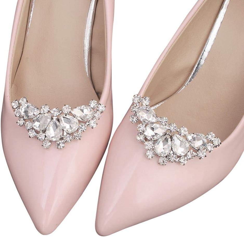 2x Crystal Shoe Clips Removable Wedding Shoe Buckle Clip Shoe Charm Accessories