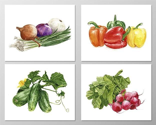 Amazoncom Food wall art A079 Set of 4 Food art prints 8x10