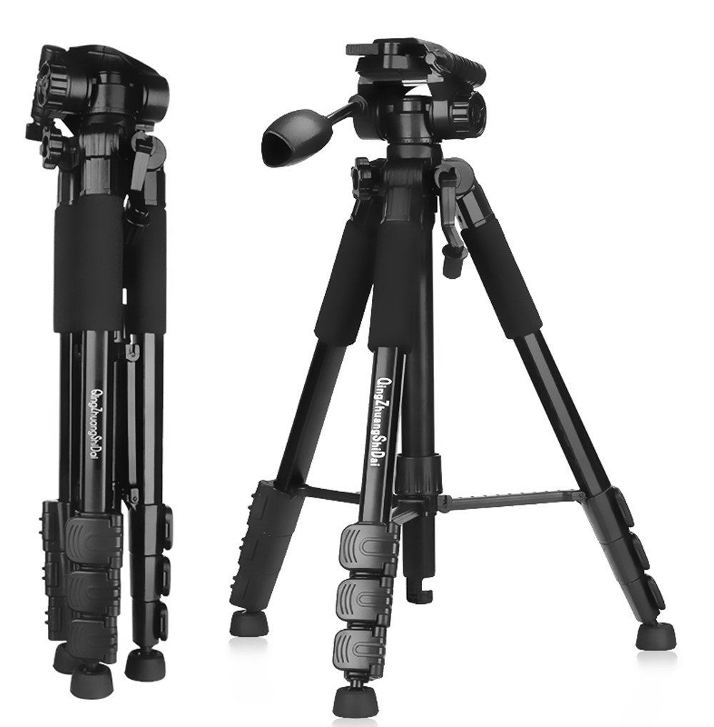 QZSD ビデオ デジタルカメラ Canon Nikon Petax Sonyなど用 運動会 登山 超軽量アルミファイバー製4段 ハンドルのヘッド 三脚 3 WAY 雲台 水準器付き ブライ黒 (1460mm) 1460mm  B073TYNMZ1