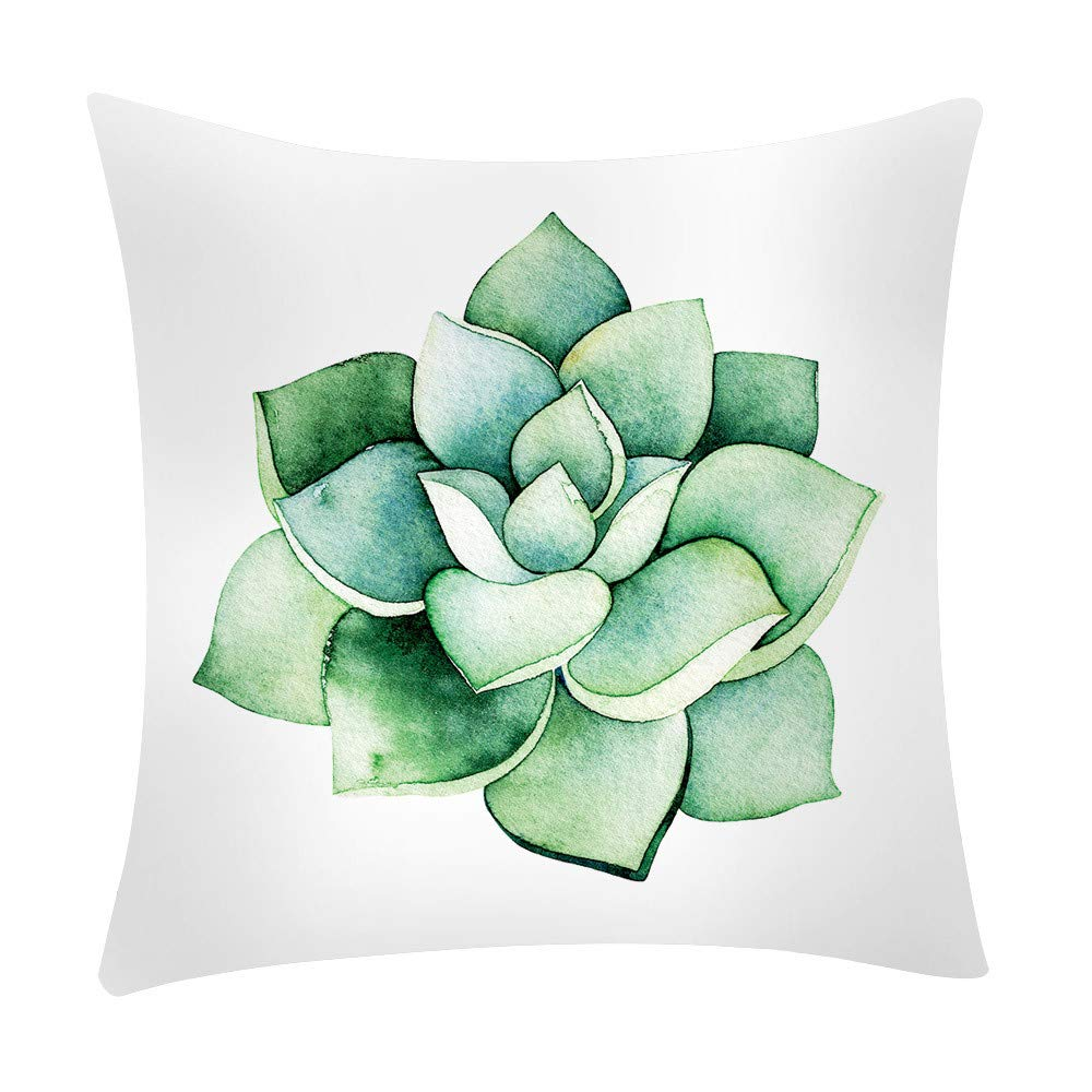 Chenway Cactus Banana Leaf Print Throw Pillow Case,Zipper Square Pillowslip Cushion Decoration CaseCover for Sofa Living Room Home Decor (E)