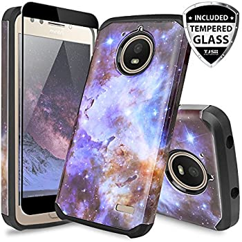 TJS Motorola Moto E4 Case, [Full Coverage Tempered Glass Screen Protector] Dual Layer Hybrid Shockproof Drop Protection Impact Rugged Case Armor Cover ...