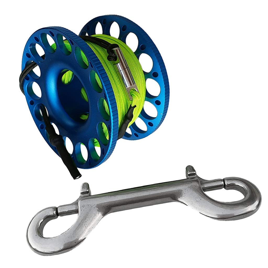 CUTICATE Scuba Diving Finger Spool Reel 15m Line with Double Ended Snap - Blue by CUTICATE
