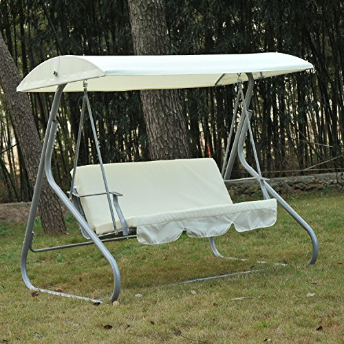 Generic O-8-O-4175-O anopy Steel Frame rame W/ Porch Furniture ure Ste Heavy-duty Swing Chair Porch F W/ Canopy hair 3 3 Person NV_1008004175-TYQFUS32