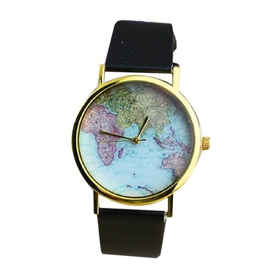 Mujeres Hombres Vintage aleación de tierra, diseño de mapamundi reloj analógico cuarzo piel sintética relojes de pulsera Negro: Amazon.es: Relojes