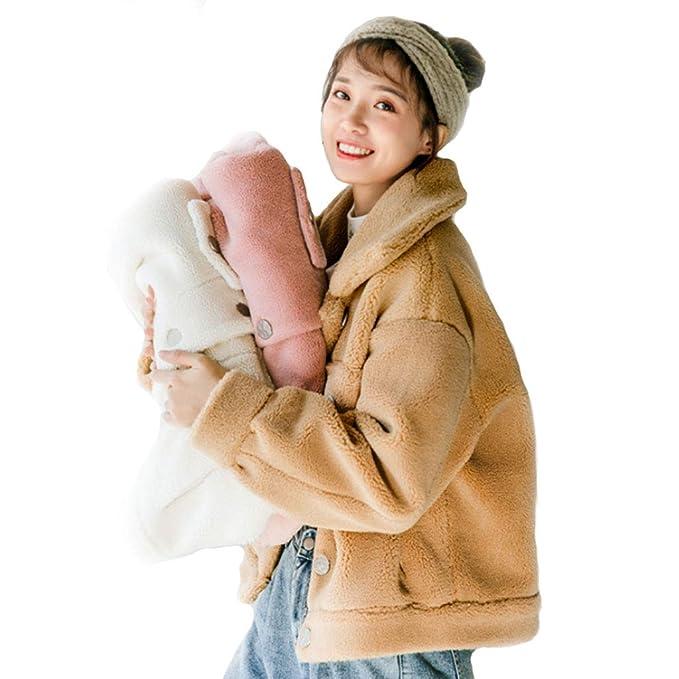 Abrigos Piel de Cordero Corto Moda Salvaje Coreano Grueso Piel de Cordero Rosa Beige Caqui Suelta