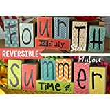 Fourth of July - Summer Time: DIY Unfinished Wood n Vinyl - Fourth of July and Summer Letter Decoration Kit- Reversible Blocks Letters
