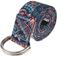 kesoto D-Ring Yoga Strap 6Ft Durable Cotton for Stretching and Flexibility - Mandala, As Described