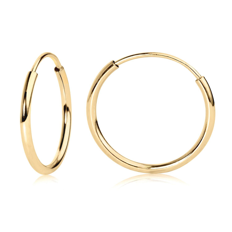 14k Yellow Gold Endless Hoop Earrings 12mm 41160