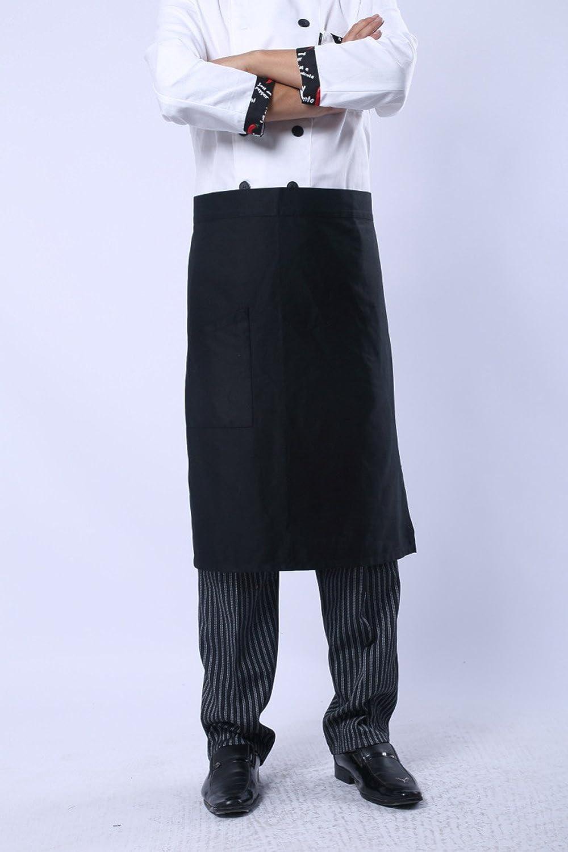 Black and white stripes Hyzrz Kitchen Bib Aprons Man Cotton Polyester Commercial Restaurant Waiter Waitress Server Barista Waist Half Waist Men Apron 1 Pocket