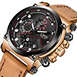 Mens Watches,LIGE Waterproof Chronograph Military Sport Analog Quartz Watch Gents Big Face Brown Leather Fashion Casual Dress Wrist Watch