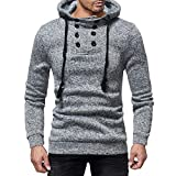 Mens Long Sleeve Blouses Clearance Mens Long Sleeve Autumn and Winter Button Cap Casual Suits Sweatshirt Blouse Top By WEUIE(2XL, Gray)