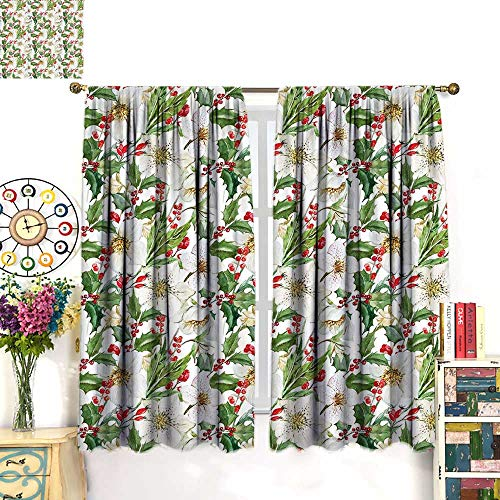 lor Drapes for Living Room Christmas Themed Floral Poinsettia Winter Inspirations Berries LeafBlackout curtainVermilion Green Yellow. W63 x L72 ()