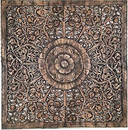 Amazon Com Mandala Headboard King Hand Carved Wood Panel