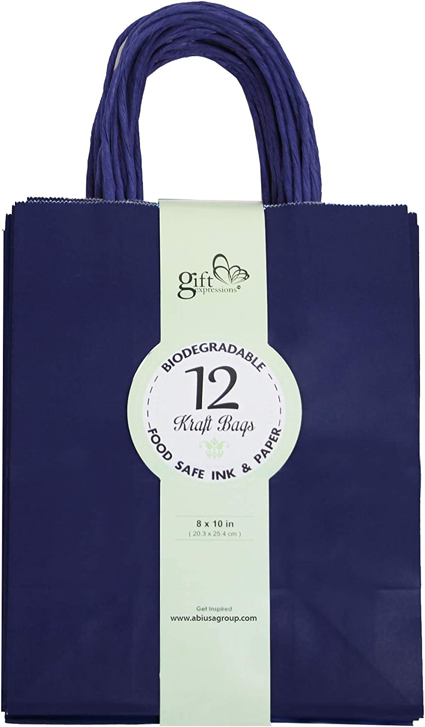 12CT Medium Navy Biodegradable, Food Safe Ink & Paper, Premium Quality Paper (Sturdy & Thicker), Kraft Bag with Colored Sturdy Handle (Medium, Navy)