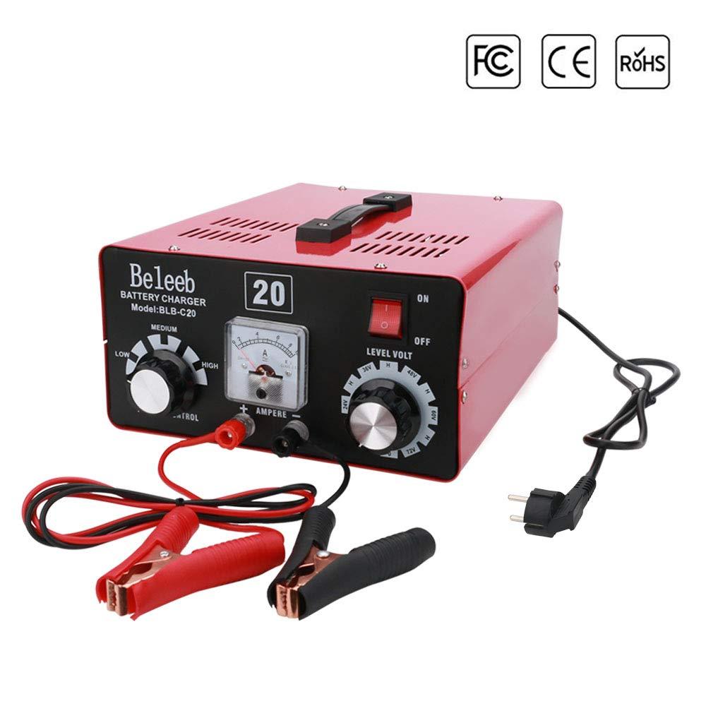 Caricabatterie e Mantenitore per Auto Intelligente Batteria Caricabatteria 12V 24V 36V 48V 60V 72V Batteria al Piombo Acido Batteria Li,MF VRLA AGM e Gel,con Morsetti e Clip ad Anello Staccabili