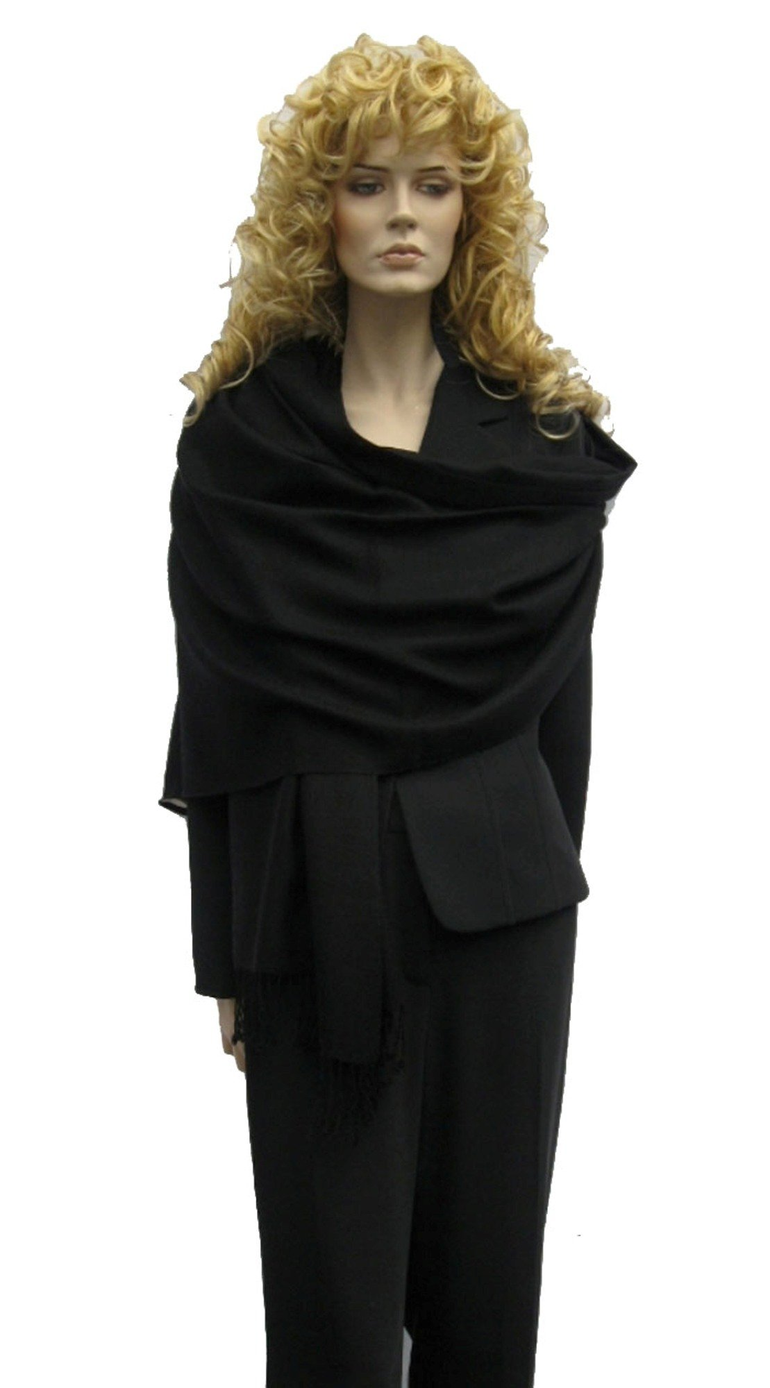Scarf/Shawl/Wrap/Stole/Pashmina Shawl in solid color from Cashmere Pashmina Group (Black)