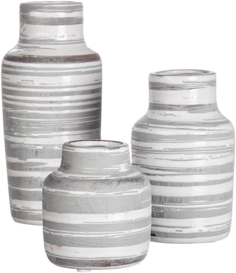 Sullivans Set of 3 Ceramic White and Gray Bottles or Vases Various Sizes
