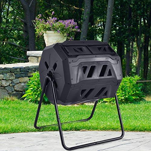 Zazza95shop Kitchen Garden Outdoor Patio Yard Lawn 43 Gallon Black Compost Grass Waste Bin Elegant Tumbler Composter Trash Container Storage Durable PP Material and Steel Pipe 2 Compartment