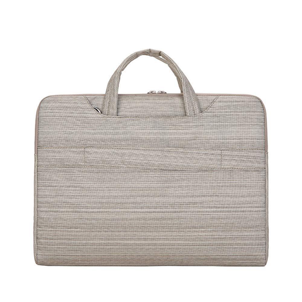 Zxcvlina Laptop Briefcase Striped Liner Bag Multifunction Notebook 11//12//13//14//15 Business Computer Bag Color : Beige, Size : 12