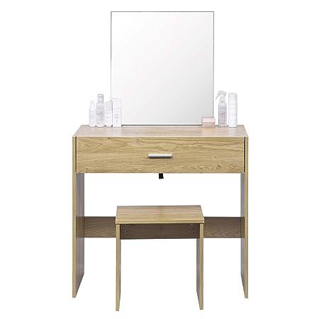 Woltu Mb6043ei Coiffeuse Table Avec Miroir Et Tiroir Coiffeuse Tabouretchêne