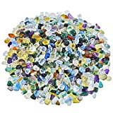 SUNYIK Multicolor Glass Tumbled Chips Stone Crushed Crystal Quartz Pieces Irregular Shaped Stones1pound(about 460 gram)