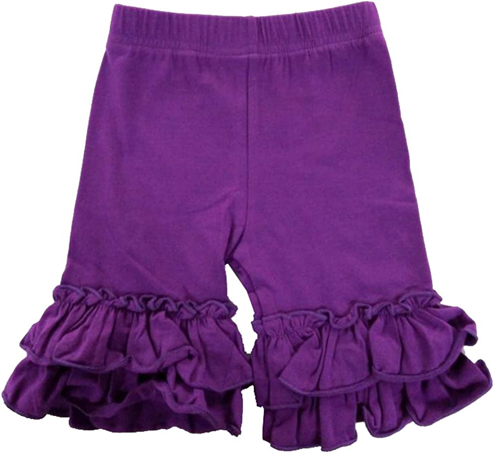 eKooBee Baby Little Girls Short Toddler Ruffle Solid Cotton Pants