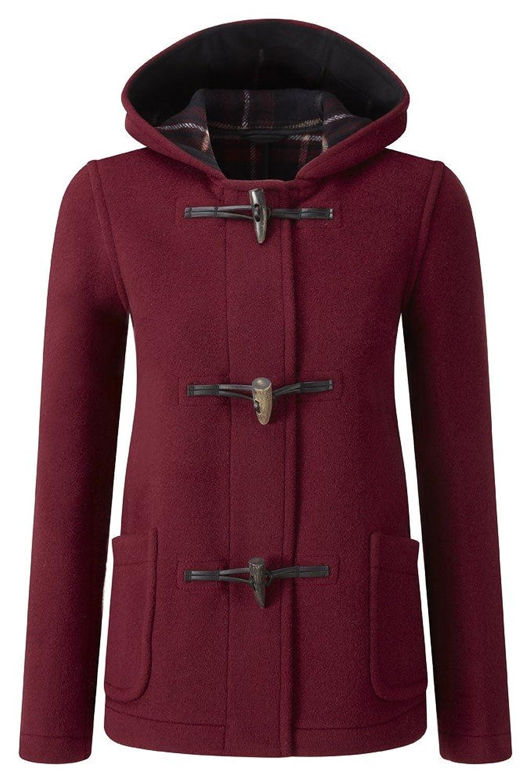 Womens Short Duffle Coat (Burgundy) at Amazon Women's Coats Shop
