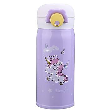 Termo de acero inoxidable con diseño de unicornio para niñas, botella de agua para uso en interiores y exteriores, termo aislante a prueba de fugas ...