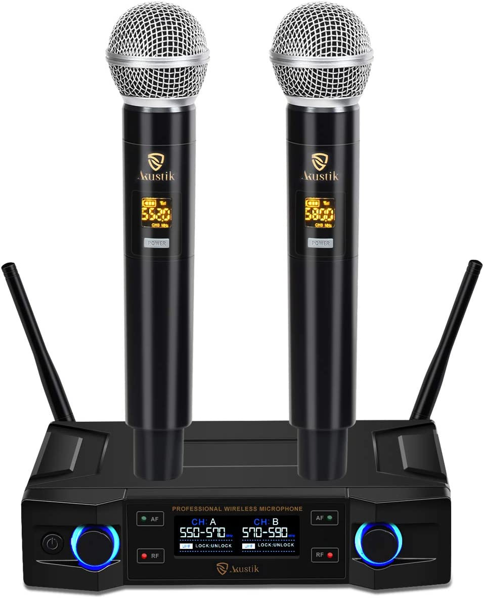 Meeting Professional Karaoke Machine for Party Speech 200Ft Range UHF Cordless Handheld Mics Set with LCD Display Wedding AKUSTIK 100 Channel Dual Wireless Microphone System Church