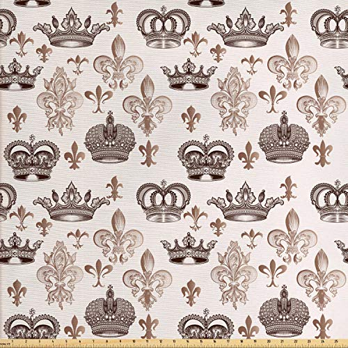 Fleur De Lis Upholstery - Lunarable Fleur De Lis Fabric by The Yard, Crowns and Fleur-de-Lis Shapes in Engraved Style Fame Symbolic Artwork Print, Decorative Fabric for Upholstery and Home Accents, 1 Yard, Beige Tan