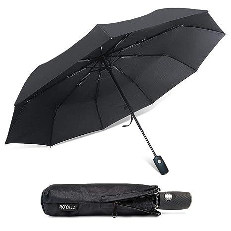 ROYALZ Paraguas de Bolsillo Plegable Mujer y Hombre Paraguas Resistente a tormentas Mango de Madera automático