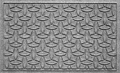 (Bungalow Flooring Waterhog Indoor/Outdoor Doormat, 2' x 3', Skid Resistant, Easy to Clean, Catches Water and Debris, Ellipse Collection, Medium Grey)