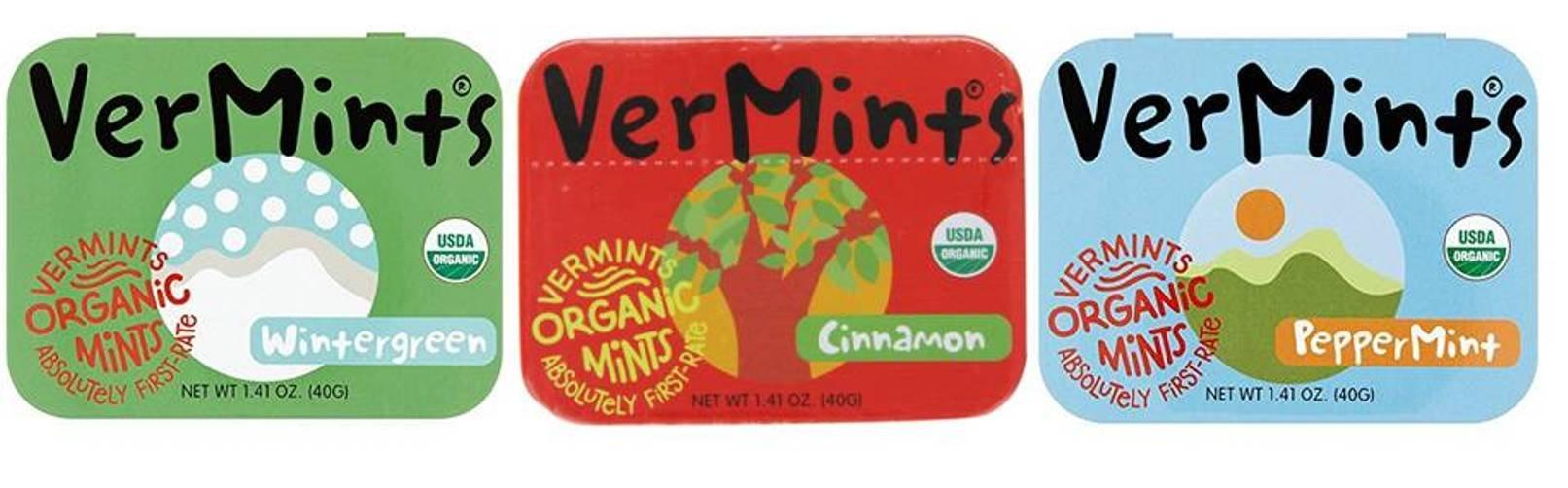 VerMints Organic Gluten Free Non-GMO Vegan Candy Mints 3 Flavor Variety Bundle: (1) Peppermint, (1) Cinnamon, and (1) Wintergreen