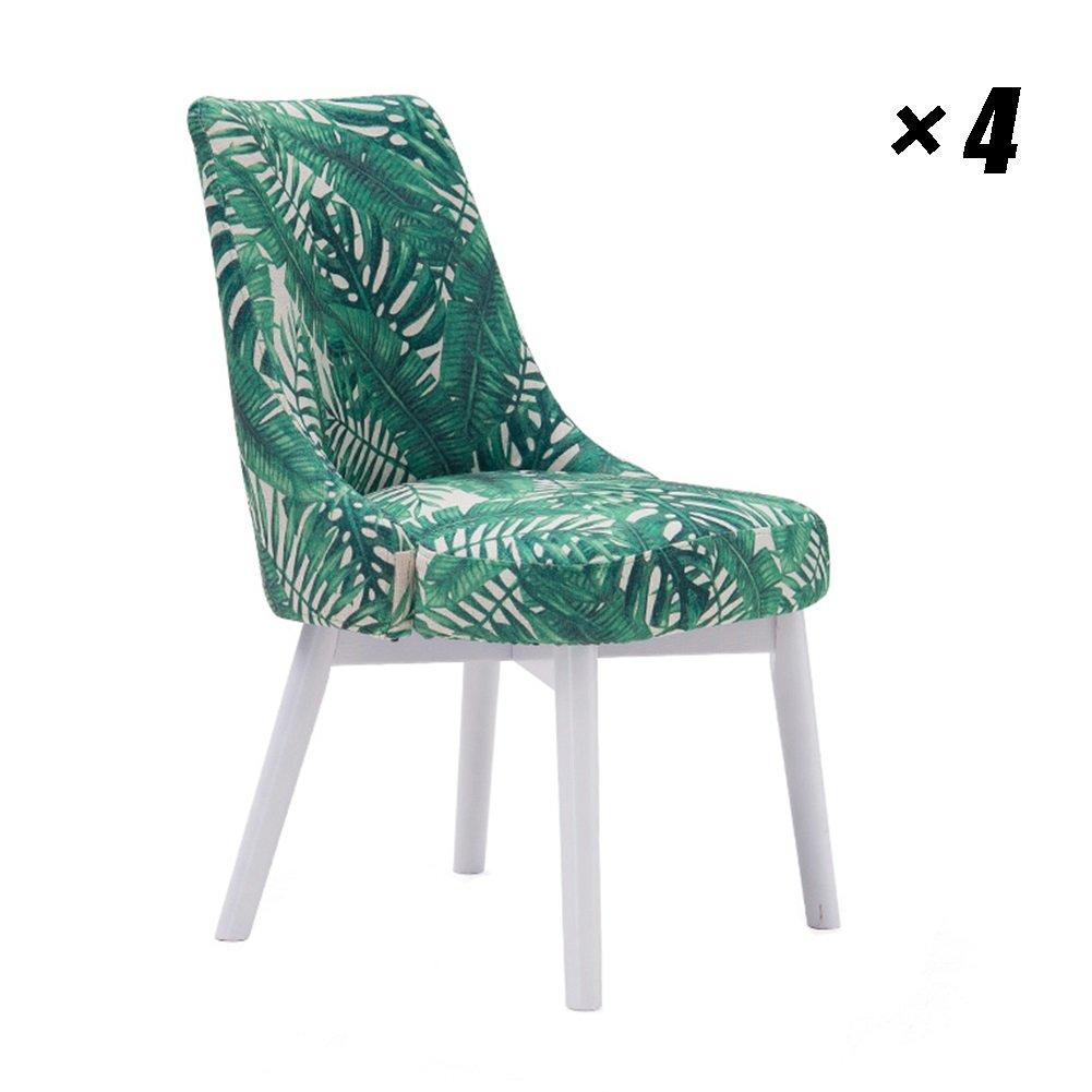 ソリッドウッドダイニングチェアファブリックカフェラウンジ家具、会議室、オフィス用シンプルなキッチン用椅子53.5×61×83cm (色 : 白, サイズ さいず : Set of 4) B07F9RSJ67 Set of 4|白 白 Set of 4