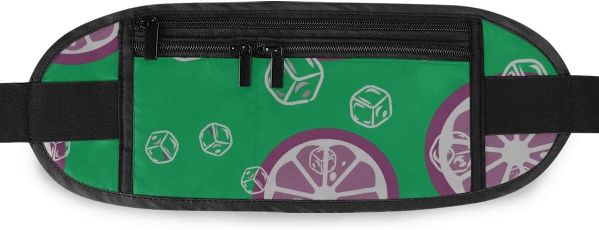 Fruit Pattern Lemon Orange Ice Cubes Running Lumbar Pack For Travel Outdoor Sports Walking Travel Waist Pack,travel Pocket With Adjustable Belt