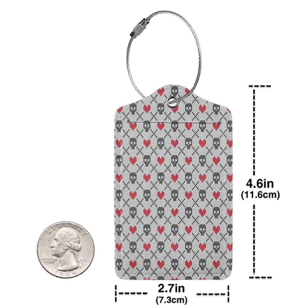 Printed luggage tag Skulls Decorations Geometric Skulls And Hearts Stitch Work Knitted Pattern Protect personal privacy W2.7 x L4.6