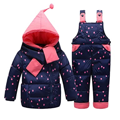 48b7e68844d4 Amazon.com  Little Girls  Snowsuit Jacket with Scarf Dot Printed ...