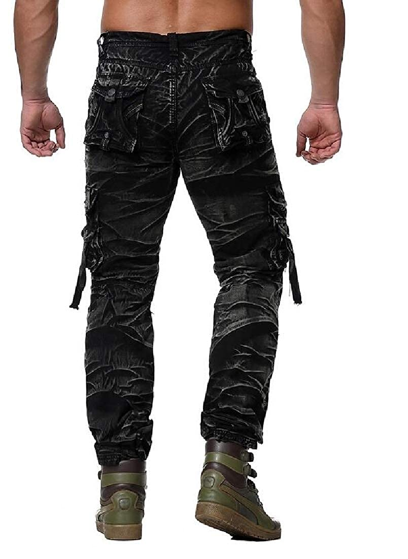 WSPLYSPJY Men Casual Multi-Pockets Work Pants Tactical Outdoor Military Army Cargo Pants