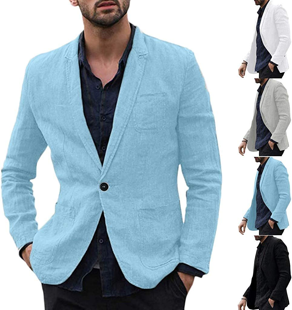 Gray, 2XL Mens Slim Fit Suits Jackets Casual Blazer Classic Solid Color Linen Long Sleeve One-Button Lightweight Coats Business Jacket Beach Wedding Tuxedos Outwear with Pocket
