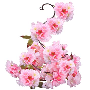 GTidea Silk Plants Direct Artificial Cherry Blossom Hanging Vine Spray Arrangements Faux Garland Fake Wreath Home