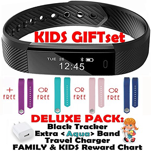 Fitness tracker for Kids Women Men | Smart Watch 2 Wrist Bands for iOS Android | Bluetooth Pedometer Activity Tracker Step Counter Sleep Monitor Tracker+Charger+Chart+Black+Color Band (Deluxe Aqua) Aqua Girls Watch