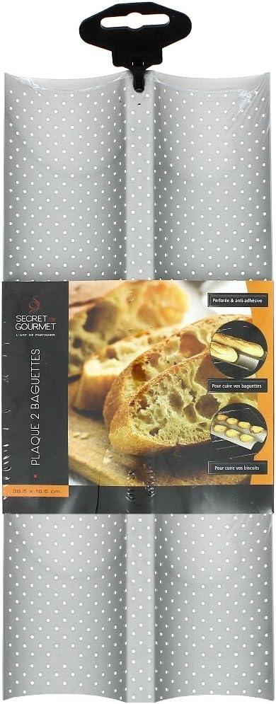 Anti-adh/ésif Plaque /à Baguettes Perfor/ée Plaque de Cuisson Moule BSTCAR Moulle Baguette Plaque Moule /à 2 Baguettes R/éversible pour Biscuits P/âtisserie