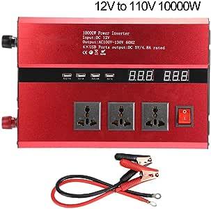 Hybrid inverter, Pure Sine Waves Inverter 12V/24V to 110V Car Solar Voltage Inverter High Power 3000W/4000W/5000W//10000W Red US Type(12v/10000w)