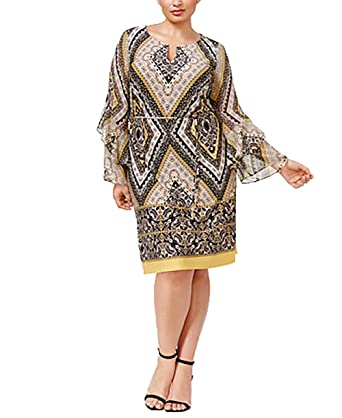 0639e51d4c9 INC International Concepts Plus Size Printed Bell-Sleeve Sheath Dress (14W)